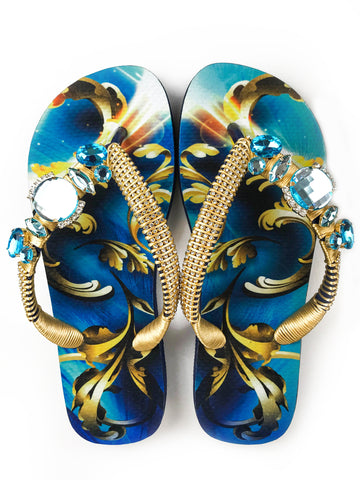 Hand made customized HAVAIANAS flip-flops | exclusive gold and blue pattern | blue rhinestones/crystals - Comes with a bag with the same pattern - TOP MODEL