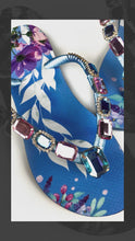 Load and play video in Gallery viewer, Customized HAVAIANAS, exclusive nature inspired pattern, rose and blue rhinestones/crystals - SLIM