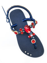 Load image into Gallery viewer, Customized HAVAIANAS with adjustable ankle strap, red rhinestones/crystals - FREEDOM