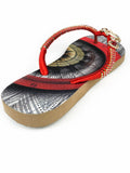 Customized HAVAIANAS flip-flop sandal | hand made with red, brown and gold pattern - Comes with a bag and a face mask with the same pattern