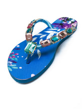 Load image into Gallery viewer, Customized HAVAIANAS, exclusive nature inspired pattern, rose and blue rhinestones/crystals - SLIM