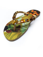 Load image into Gallery viewer, Customized HAVAIANAS, exclusive nature inspired pattern, old gold - yellowish rhinestones/crystals - SLIM