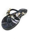 Customized HAVAIANAS flip-flop sandal | hand made with black, white and gold pattern - Comes with a bag and a face mask with the same pattern