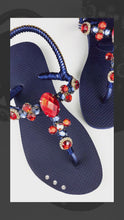 Load and play video in Gallery viewer, Customized HAVAIANAS with adjustable ankle strap, red rhinestones/crystals - FREEDOM