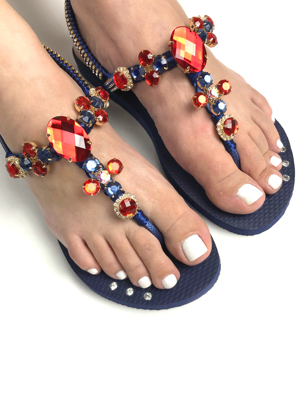 Customized HAVAIANAS with adjustable ankle strap, red rhinestones/crystals - FREEDOM