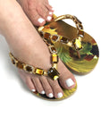Customized HAVAIANAS flip-flop sandal | hand made with orange, yellow and gold pattern - Comes with a bag and a face mask with the same pattern