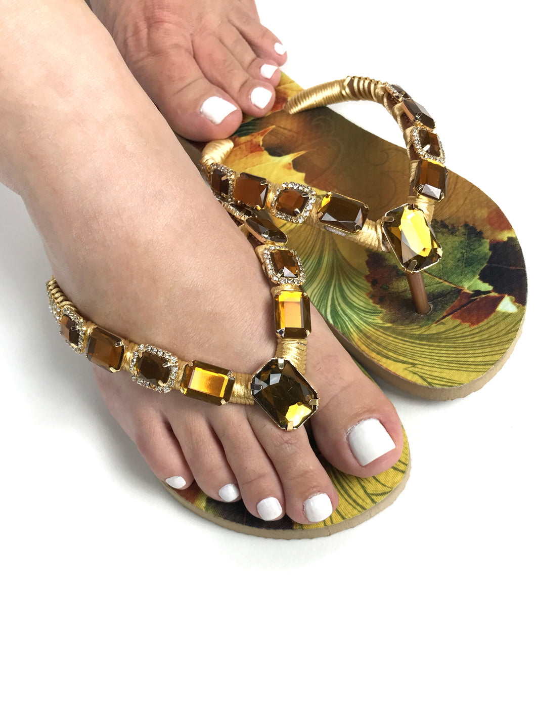 Customized HAVAIANAS, exclusive nature inspired pattern, old gold - yellowish rhinestones/crystals - SLIM