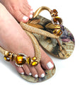 Customized HAVAIANAS flip-flop sandal | hand made with amber and beige pattern - Comes with a bag and a face mask with the same pattern