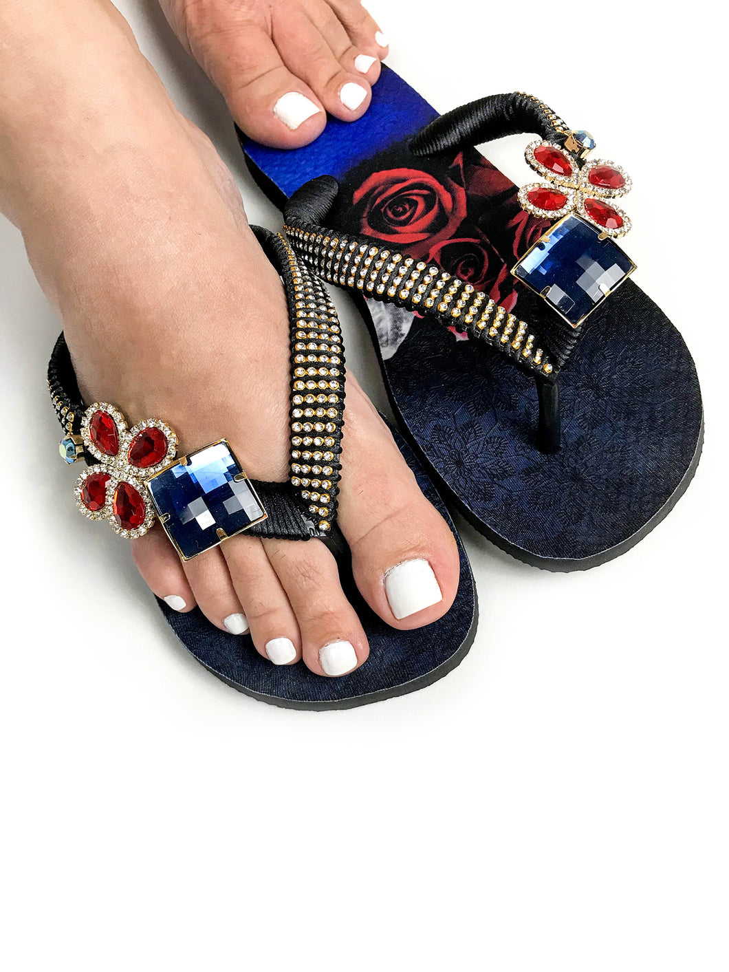 Customized HAVAIANAS, exclusive roses pattern, red and blue rhinestones/crystals - TOP