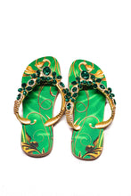 Load image into Gallery viewer, Customized HAVAIANAS, exclusive green and gold pattern, green rhinestones/crystals - TOP