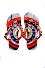 Load image into Gallery viewer, Customized HAVAIANAS, exclusive nautical pattern, red rhinestones/crystals with golden appliques - SLIM