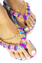 Load image into Gallery viewer, Customized HAVAIANAS, exclusive tie dye pink and blue pattern, tie dye rhinestones/crystals - TOP