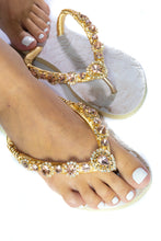 Load image into Gallery viewer, Customized HAVAIANAS, exclusive floral pattern, rose rhinestones crystals - SLIM
