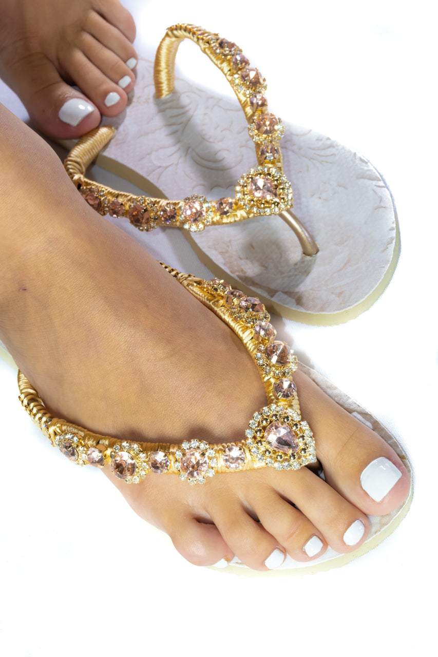 Customized HAVAIANAS, exclusive floral pattern, rose rhinestones crystals - SLIM