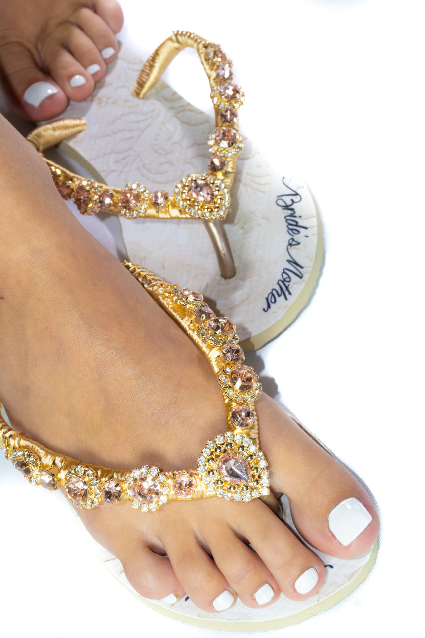 BRIDE'S MOTHER customized HAVAIANAS, exclusive floral pattern with Bride's Mother, rose rhinestones crystals - SLIM