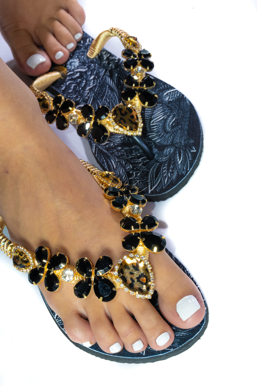 Customized HAVAIANAS, exclusive lion pattern, animal print, black and gold rhinestones/crystals - SLIM