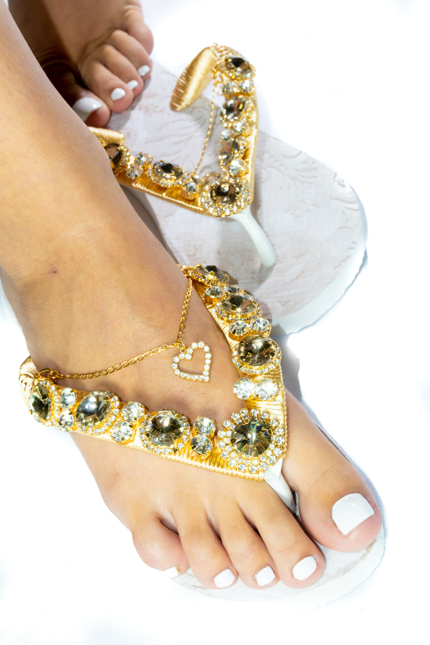 Customized HAVAIANAS, exclusive floral pattern, golden crystal rhinestones - TOP