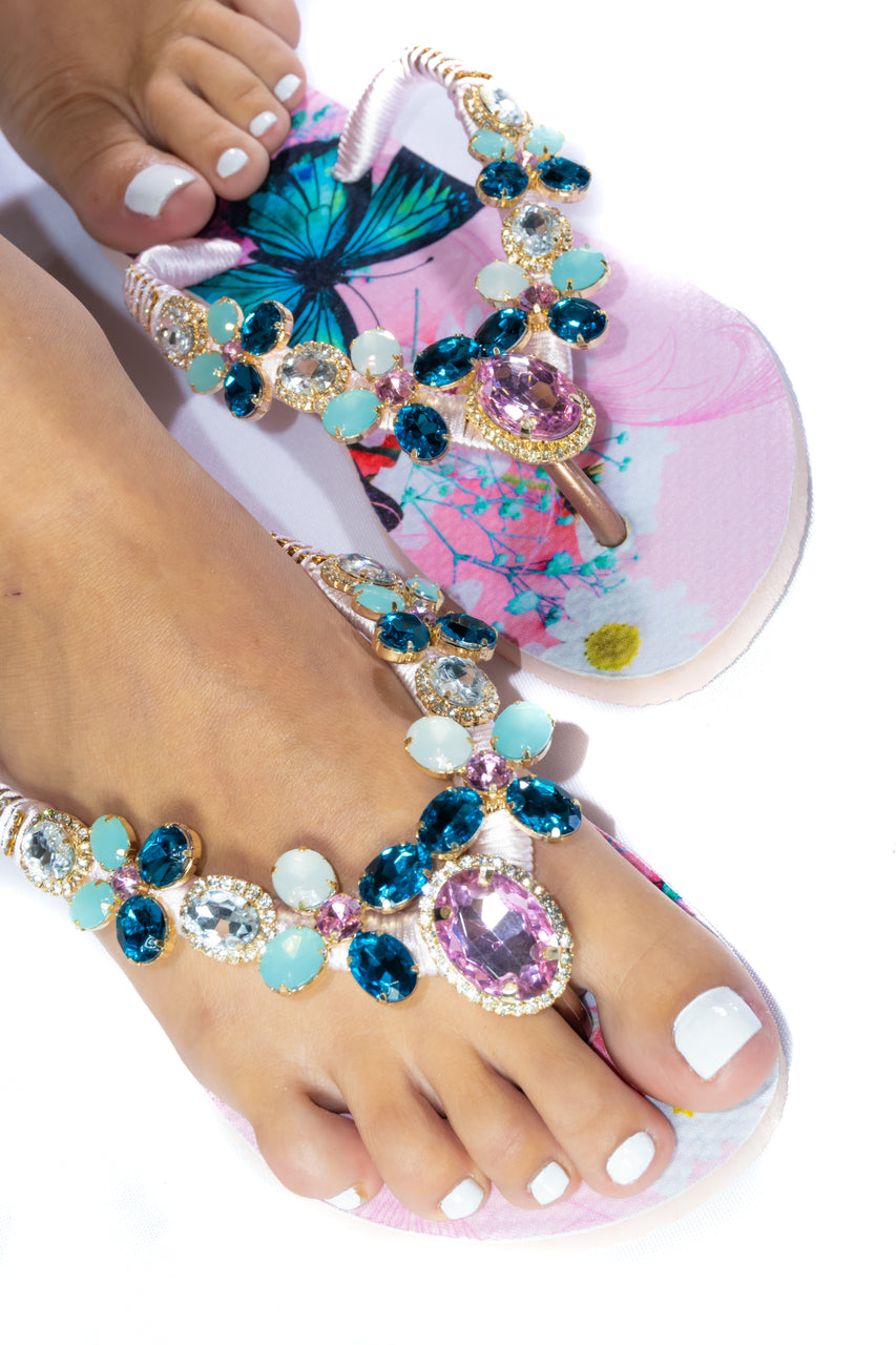 Customized HAVAIANAS, exclusive pink and blue butterflies pattern, white, rose and bluish green rhinestones/crystals - SLIM