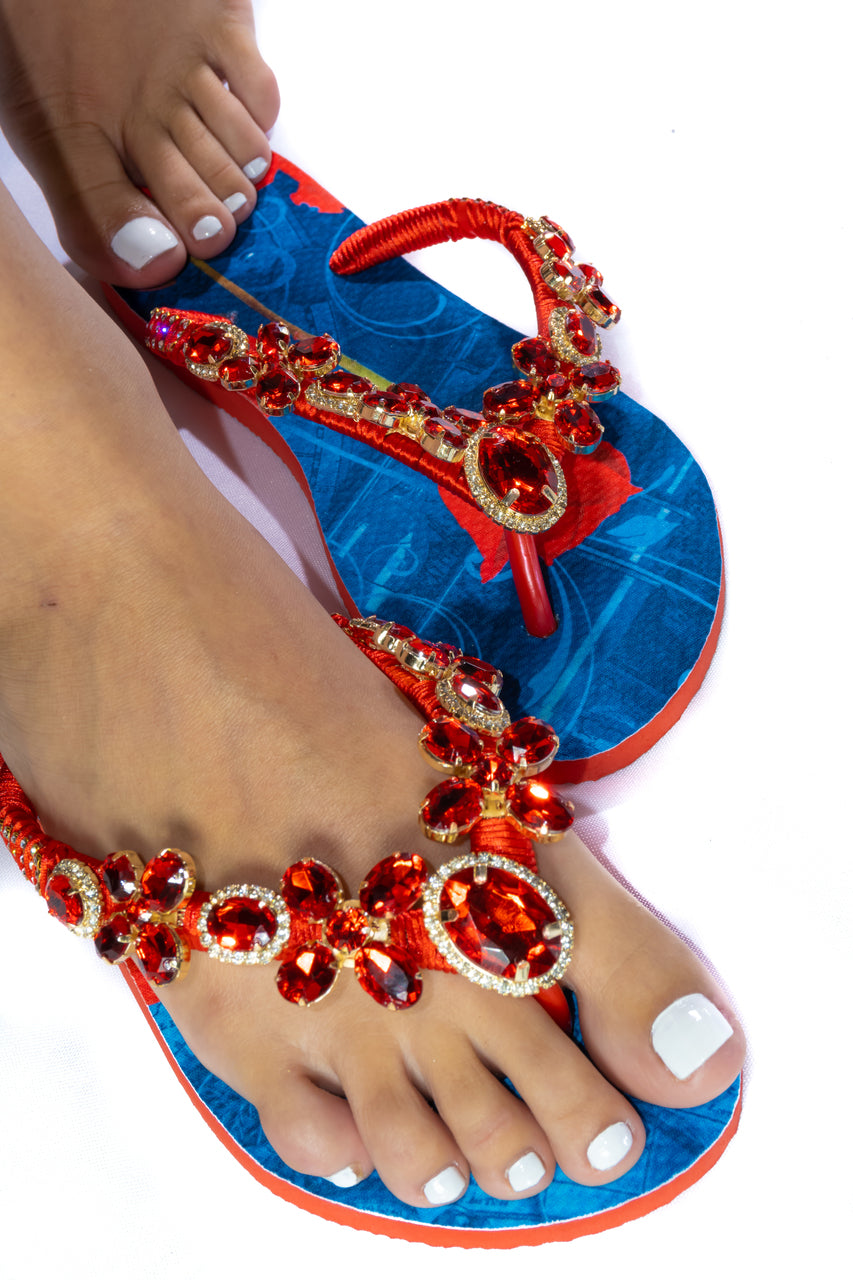 Customized HAVAIANAS, exclusive floral pattern, red rhinestones/crystals - SLIM