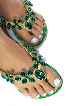 Load image into Gallery viewer, Customized HAVAIANAS, exclusive green and gold pattern, green rhinestones/crystals - SLIM