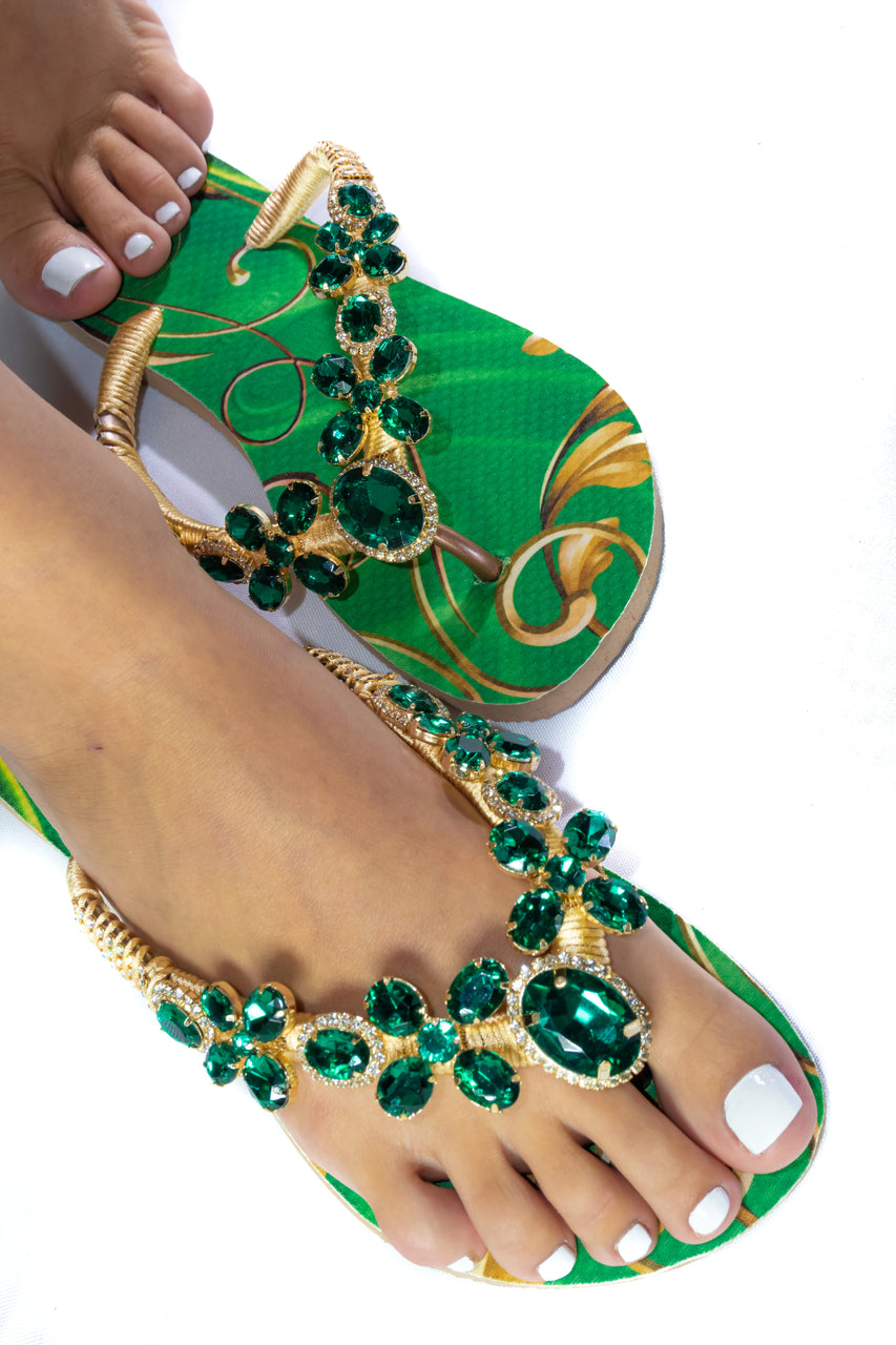 Customized HAVAIANAS, exclusive green and gold pattern, green rhinestones/crystals - SLIM