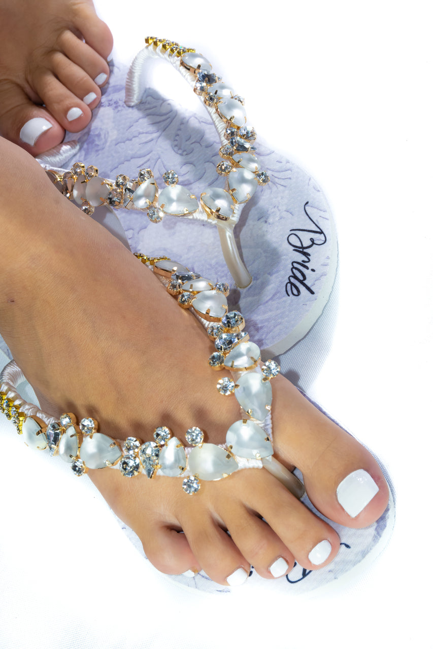 BRIDE Customized HAVAIANAS, exclusive floral pattern with Bride, white matte rhinestones crystals -SLIM