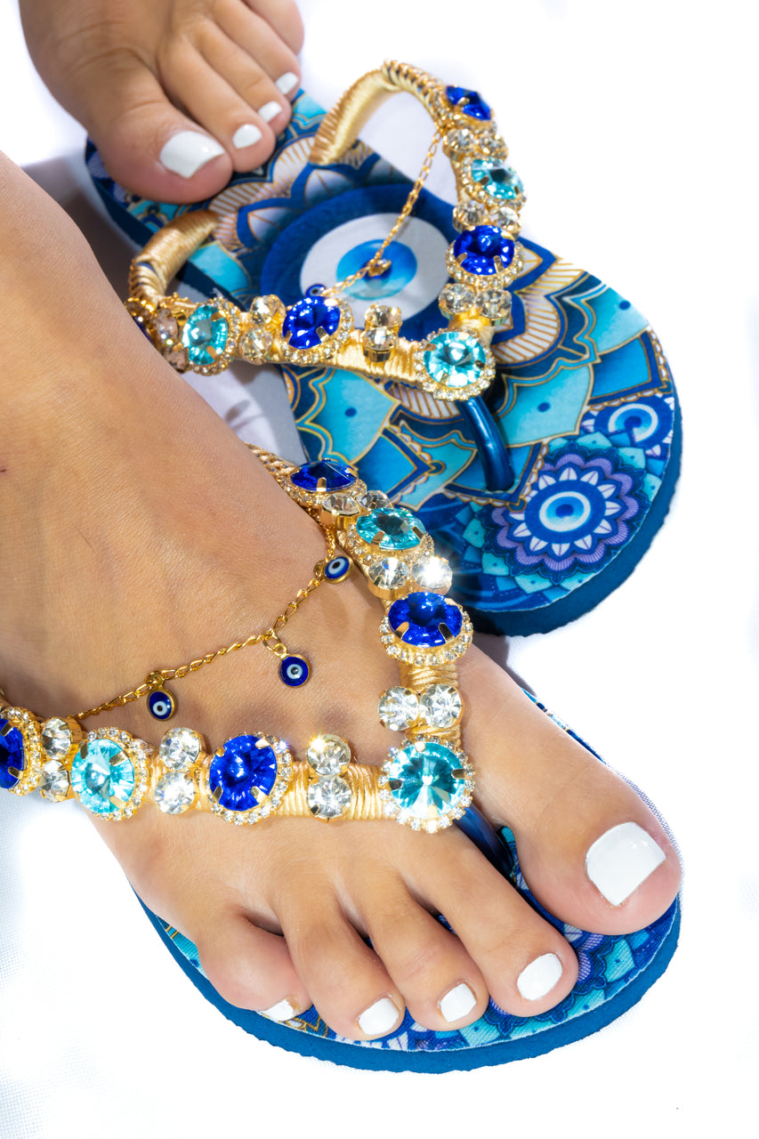 Customized HAVAIANAS flip-flops, exclusive evil eye pattern, navy blue and light blue rhinestones/crystals -SLIM