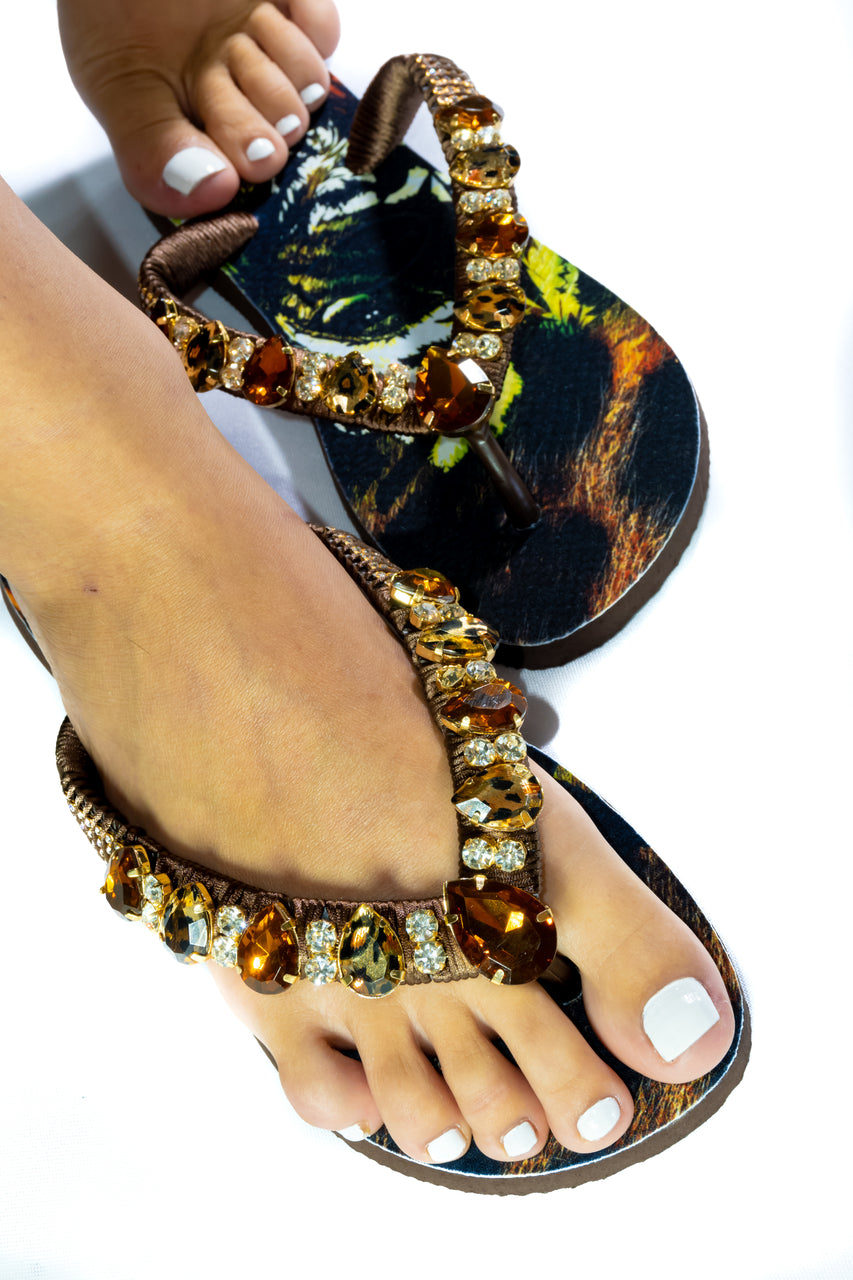 Customized HAVAIANAS, exclusive tiger pattern, animal print and brown rhinestones/crystals - TOP