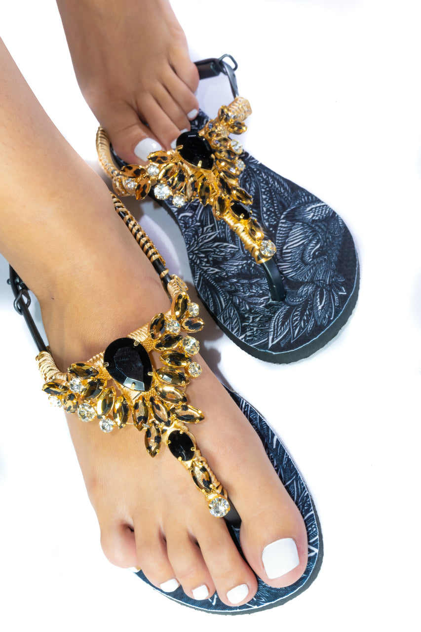 Customized Havaianas sandal, animal print, black and gold rhinestones crystals, lion pattern, adjustable ankle strap - TWIST
