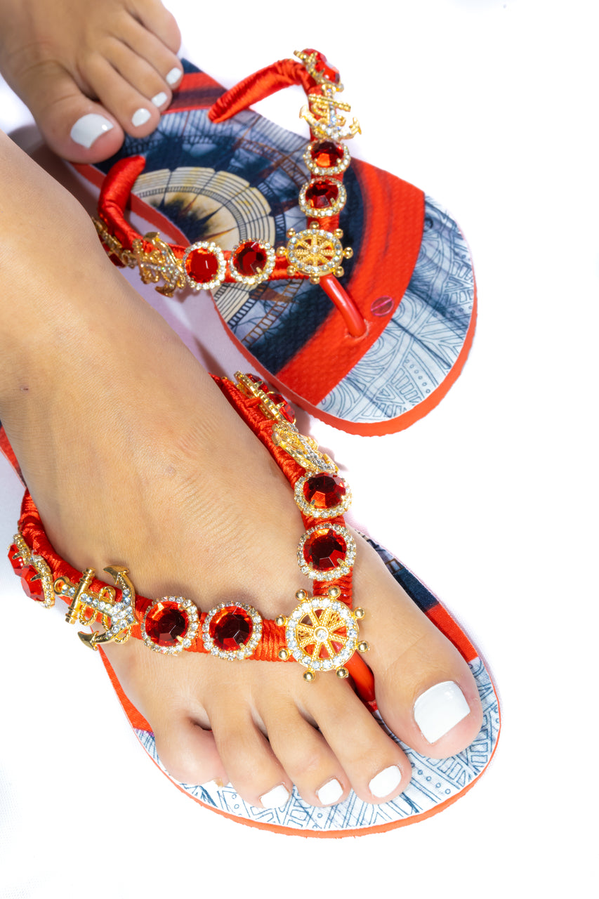 Customized HAVAIANAS, exclusive nautical pattern, red rhinestones/crystals with golden appliques - SLIM