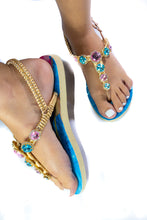 Load image into Gallery viewer, Customized Havaianas sandal, blue and rose rhinestones crystals, floral pattern, adjustable ankle strap - TWIST