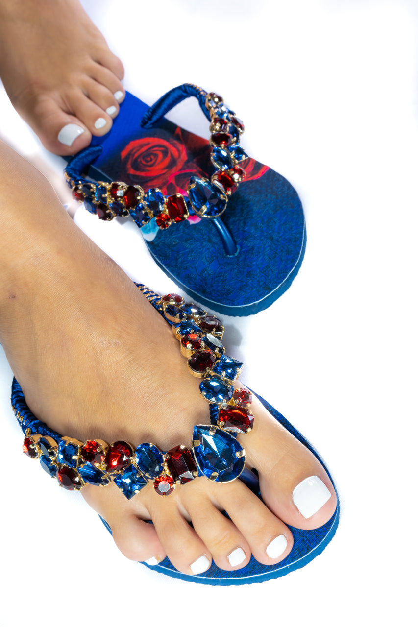Customized HAVAIANAS, exclusive floral pattern, red and blue rhinestones/crystals - SLIM