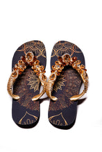 Load image into Gallery viewer, Customized HAVAIANAS, exclusive geometric pattern, various shades of brown rhinestones/crystals - TOP