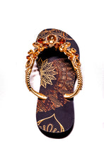 Load image into Gallery viewer, Customized HAVAIANAS, exclusive geometric pattern, various shades of brown rhinestones/crystals - SLIM