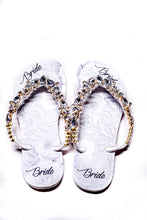 Load image into Gallery viewer, BRIDE Customized HAVAIANAS, exclusive floral pattern with Bride, crystal rhinestones - SLIM