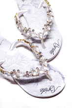 Load image into Gallery viewer, BRIDE Customized HAVAIANAS, exclusive floral pattern with Bride, white matte rhinestones crystals -SLIM