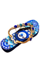 Load image into Gallery viewer, Customized HAVAIANAS flip-flops, exclusive evil eye pattern, navy blue and light blue rhinestones/crystals -SLIM