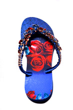 Load image into Gallery viewer, Customized HAVAIANAS, exclusive floral pattern, red and blue rhinestones/crystals - SLIM