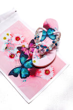 Load image into Gallery viewer, Customized HAVAIANAS, exclusive pink and blue butterflies pattern, white, rose and bluish green rhinestones/crystals - SLIM