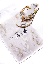 "Load image into Gallery viewer, BRIDE customized HAVAIANAS, exclusive floral pattern with ""Bride"", golden pearls appliques whith crystal rhinestones -SLIM"
