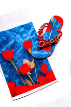 Load image into Gallery viewer, Customized HAVAIANAS, exclusive floral pattern, red rhinestones/crystals - SLIM