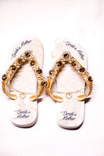 "Load image into Gallery viewer, BRIDE'S MOTHER Customized HAVAIANAS, exclusive floral pattern with ""Bride's Mother"", golden crystal rhinestones - TOP"