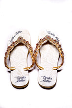 "Load image into Gallery viewer, BRIDE'S MOTHER customized HAVAIANAS, exclusive floral pattern with ""Bride's Mother"", rose rhinestones crystals - SLIM"