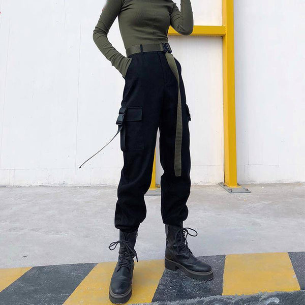 High Waist Cargo Pants - aesthetic