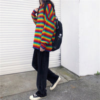Rainbow Striped Sweater - aesthetic