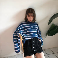 Oversized Blue and White Knit Jumper - aesthetic