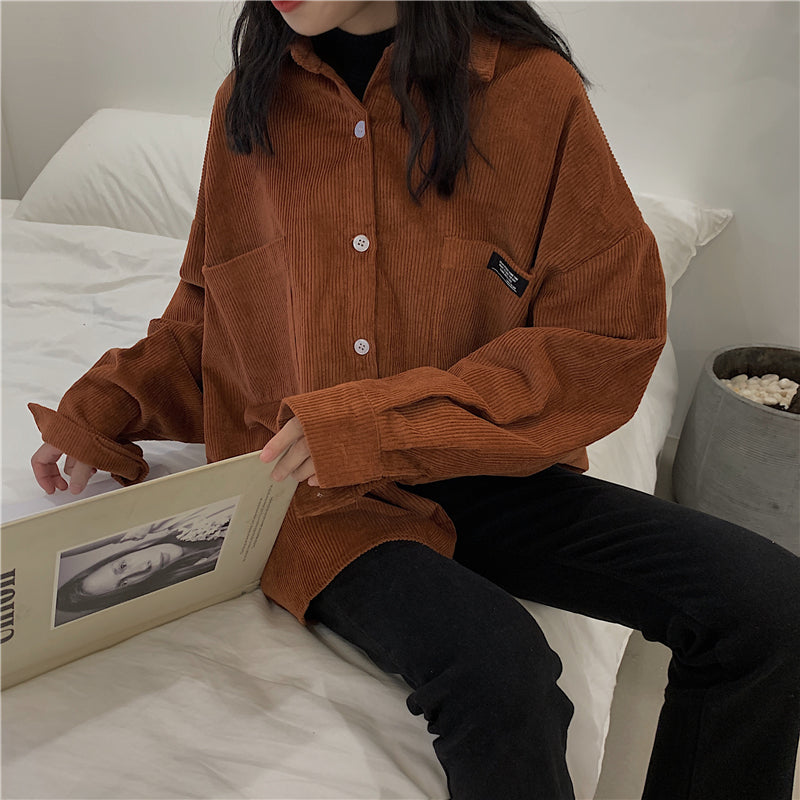 Button-Up Corduroy Shirt - aesthetic