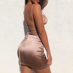 Backless Satin Dress