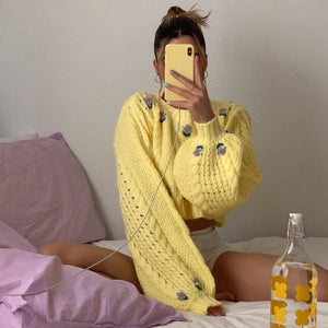 Full Bloom Cropped Knit Sweater