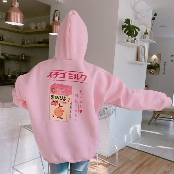 Cartoon Printed Back Hoodie - aesthetic